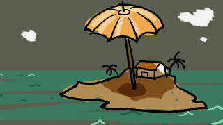 island with umbrella