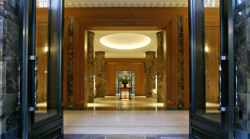 The lobby of luxury New York apartment building 15 Central Park West