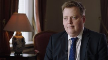 Prime Minister Sigmundur David Gunnlaugsson, during an interview with ICIJ media partners