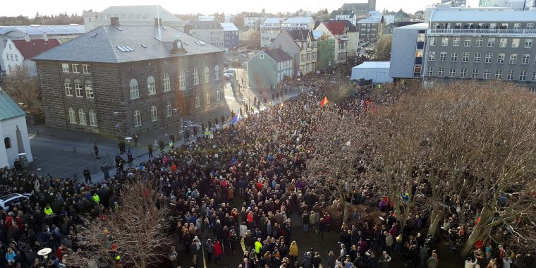 Protests outside Iceland's Parliament in Reykjavik on Monday afternoon