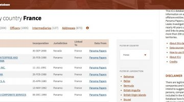 Screenshot of the Offshore Leaks database