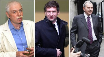 From left: The late Badri Patarkatsishvili, former Portsmouth owner Vladimir Antonov, and Irish property developer Sean Quinn