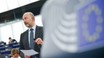 Commissioner for financial affairs Pierre Moscovici addresses the European Parliament during debate on Bahamas Leaks