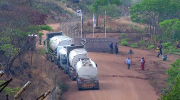 Trucks arrive at a mine in mine in Malawi