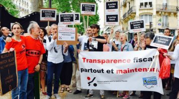 Protesters rallied in support of the LuxLeaks whistleblowers and reporter in June