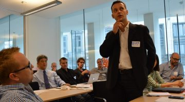 Edouard Perrin speaking at the Luxembourg Leaks team meeting in Brussels