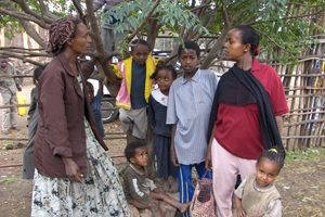 Ethalem Bekele (left) is a volunteer in a program run by Pathfinder and funded by U