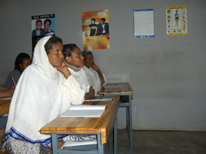 Ethiopian women participate in a Family Health International-funded literacy program in Addis Ababa