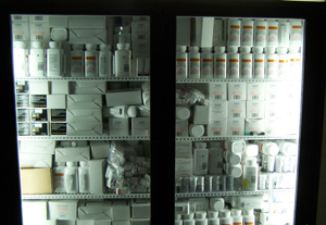 Many medicines used to treat HIV/AIDS patients, such as these stored in a Partners in Health facility in Cange, Haiti, require constant refrigeration