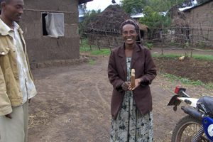 Ethalem Bekele, a volunteer recruited by Pathfinder International to teach family planning in rural Arsi Negelle, carved a wooden phallus to demonstrate correct condom use