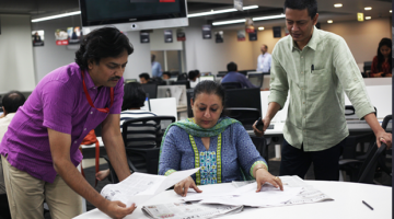 Investigative reporters P Vaidyanathan Iyer, Ritu Sarin, Jay Mazoomdaar at work in India.