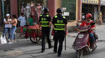 Police patrol in Xinjiang