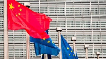 China's flag flying at European Parliament