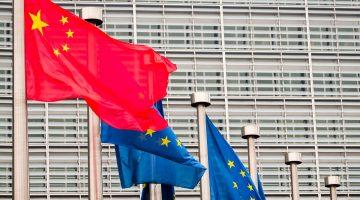 China's flag flying at European Parliament