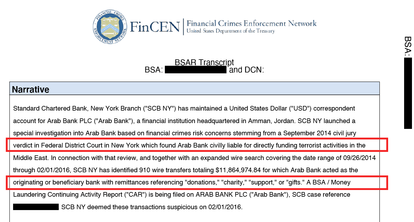 SAR de Arab Bank de FinCEN Files