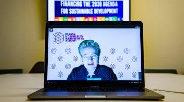 Dalia Grybauskaite, Former President of Lithuania, FACTI Co-chair, briefs reporters.
