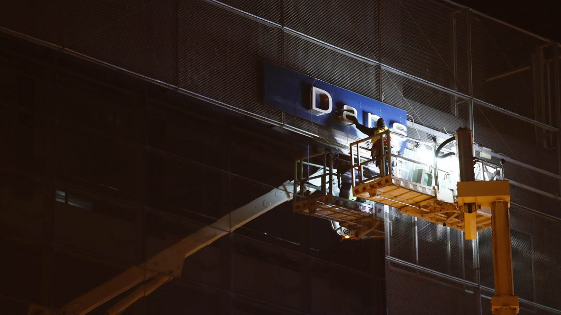 Danske Bank sign removal Estonia