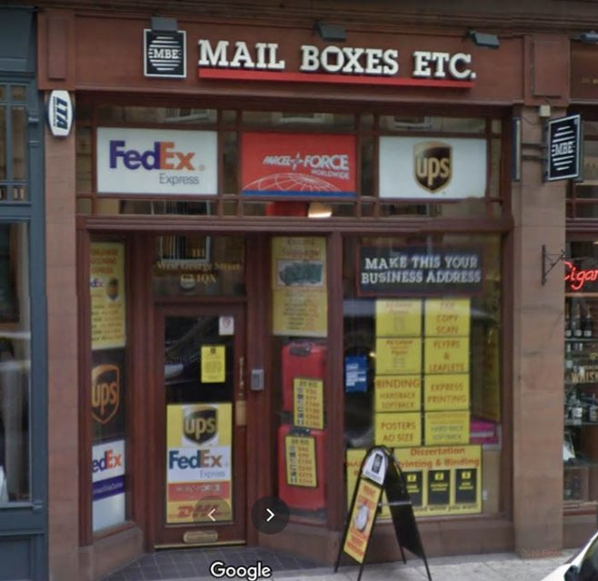 A Mail Boxes Etc shopfront in Glasgow