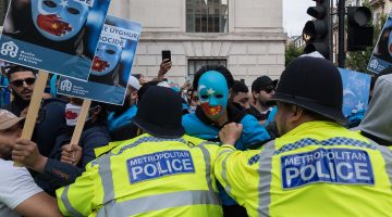 Protesters in London outside the Chinese Embassy